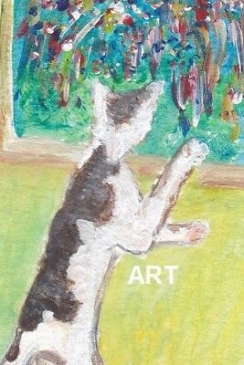 Black & White Cat & Fireworksnot ACEO 4 x 6 print of original acrylic painting