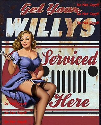 Willys Serviced Here Man Cave DECOR SIGN Pinup Girl 8X10 Photo Picture Bar JEEP