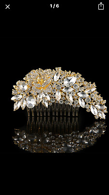 Bridal Bridesmaid Wedding Luxury Crystal Rhinestone Gold / Silver Leaf Hair Comb