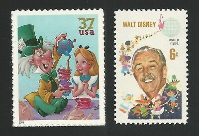 Alice in Wonderland Mad Hatter Tea Party Walt Disney Animated Movie Stamps MINT!