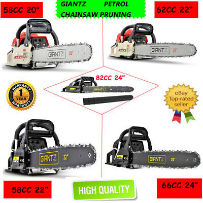 58/62/66/88CC Petrol Commercial Chainsaw E-Start Tree Pruning GardenChain Saw AU