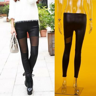 Womens PU Leather Lace Skinny Pants High Waist Stretch Leggings Pencil Trousers&