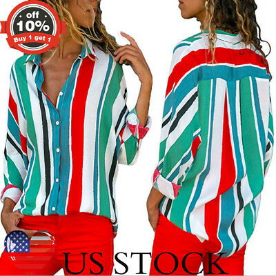 Womens Colorful Vertical Stripe T Shirt Long Sleeve Loose Button Lapel Neck Tops