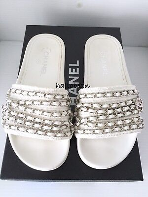 9bb642343c10 AUTH Chanel 16P White Tweed w Leather   Silver Chain Mules Slides Sandals  Sz 37