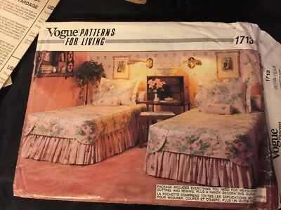 1986 Vogue Sewing Pattern 1713 Bedspread Sham Etc
