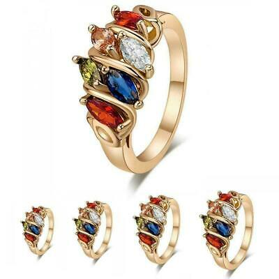 Women Fashion Colorful Zircon Rings Inlaid Gold Plated Ring Jewelry Gift Size6-8