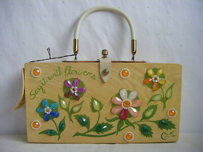 "ENID COLLINS Vtg ""Say It With Flowers"" Wood Box Purse w/ Tag, Nice!"
