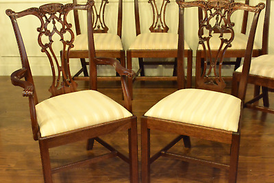 16 Leighton Hall Traditional Straight Leg Mahogany Chippendale Dining Chairs