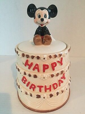 Vintage Mickey Mouse 50th Anniversery Happy Birthday Cake Cookie Jar WDP