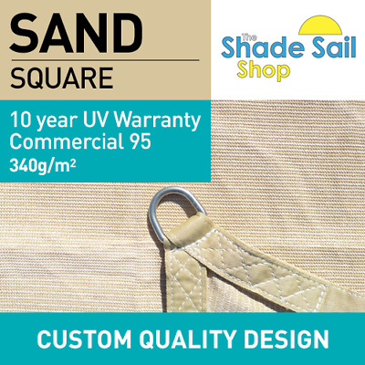 Square SAND 6m x 6m 10 YEAR UV 340GSM Shade Sail Sun Heavy Duty Commercial 6 x 6