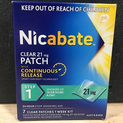 Nicabate Clear 21 Mg Patch With Continuous Release Step 1 1 Week Kit - New