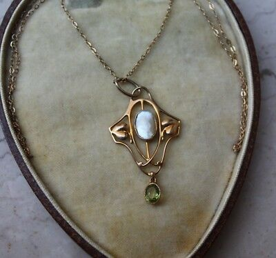 MURRLE BENNETT signed c1900 Arts & Crafts 9ct gold, peridot, pearl necklace