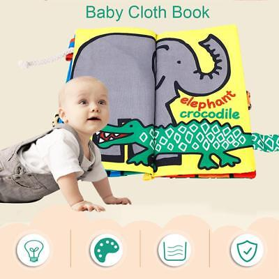 Baby Intelligence Development Soft Cloth Cognize Educational Animal Tails Book