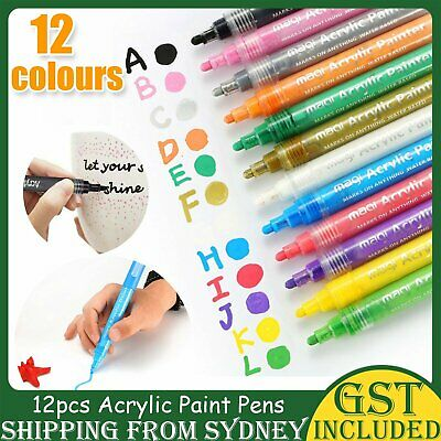 12 Multicolour Paint Marker Pens 6mm Liquid Pen Car Tyre Graffiti Art Sketch Pen