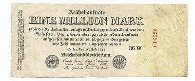 Germany Weimar Republic 1 Million mark 1923 inner facing serial P94 Ro-92b (B184