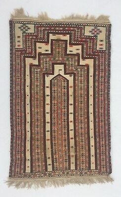 Vintage 1960s Baluch Hand-Woven And Embroidered Prayer Rug