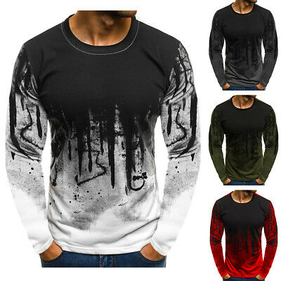 Mens Fashion Round Neck T-shirt Long Sleeve Casual Tee Slim Fit Shirts Tops US