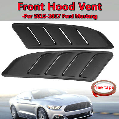 Pair Unpainted Black Car Auto Front Hood Bonnet Vent For Ford Mustang 2015-2017