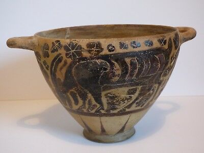 Large Ancient Greek Corinthian Pottery Skyphos 6Th Cent. Bc