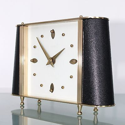 SMITHS CLOCK Mantel TOP Condition! LEATHER FEATURES Vintage 1950s UK Mid Century