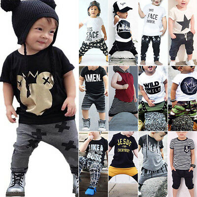 Toddler Kids Baby Boys Tops Tee T-shirt + Long Pants 2PCS Harem Outfits Clothes