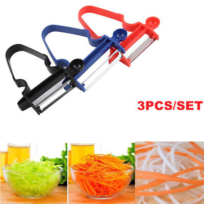 3 Pcs Magic Peeler Set Trio Peeler Slicer Shredder Julienne Kitchen Fruit Cutter