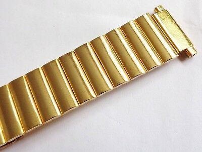 Vintage New Old Stock 16mm to 22mm yellow Stainless Steel Gents Watch Bracelet