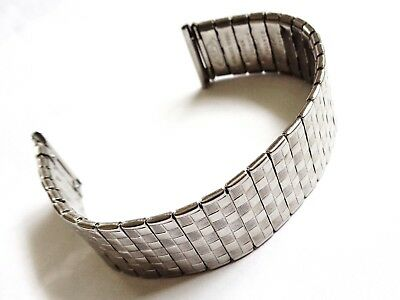Vintage 20mm SP New Old Stock Stainless Steel Gents expandable Watch Bracelet