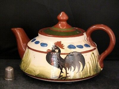 Vintage Longpark Torquay/ Devon Pottery Tea Pot with Cockerel Pattern & Motto