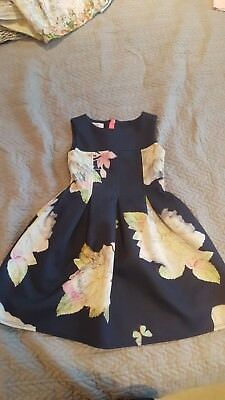 Gorgeous GIRLS/KIDS Genuine TED BAKER Navy Blue Floral  PARTY DRESS - AGE 6
