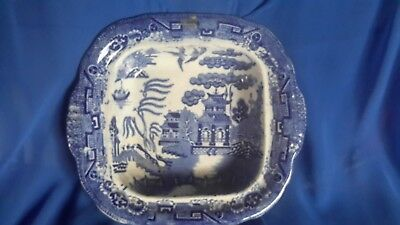 Antique square blue and white Chinese design willow pattern English dish 22cm