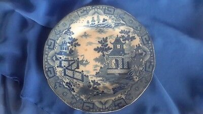 Antique plate blue and white Chinese pattern maker unknown C 1790