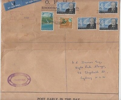 Stamps Rhodesia Churchill etc on large cover sent registered airmail to Sydney