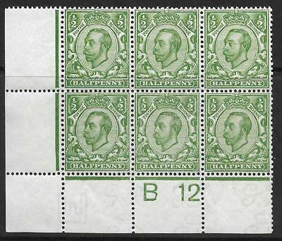 Sg 344 ½d Green Downey Head control B 12(w) perf 2A UNMOUNTED MINT/MM 2 stamps