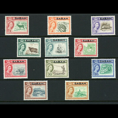 SABAH North Borneo 1964-65 Short Set to 50c SG 408-418 Mint Never Hinged (AT592)
