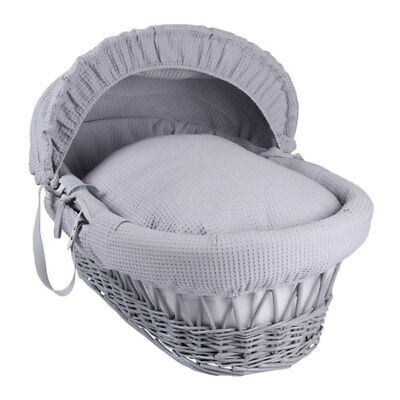 Clair de Lune Waffle Grey Wicker Moses Basket, Grey