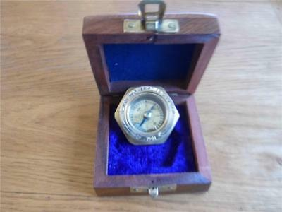 Antique Style Solid Brass Nautical Compass Made For Royal Navy London & Teak Box
