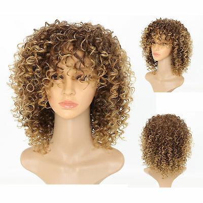 Ladies Brown Blonde Short Natural Hair Wigs Fashion Women Afro Kinky Curly Wig