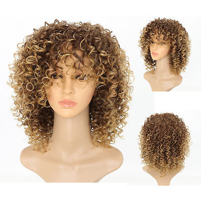 Women Blonde Short Kinky Curly Wigs Afro American Soft&Healthy Hair Wig Fashion
