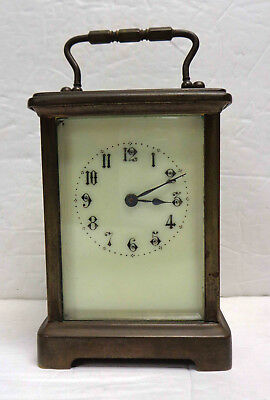 Vintage French Enamel Face Carriage Mantel Desk Clock No. 446 with Key!