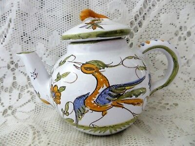 Vintage Moustiers France Tin Glazed Faience Majolica Teapot Birds & Flowers