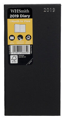 WHSmith 2019 Slim Black Diary Month to View Case Bound With Place Marker