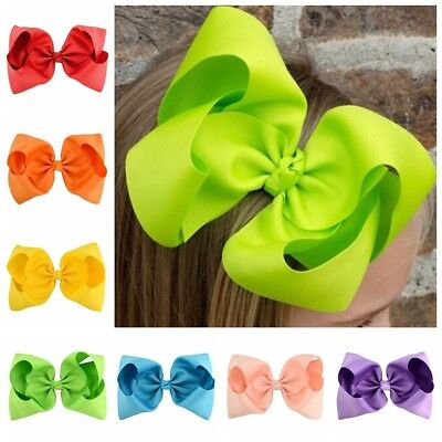 12 Pcs 8 inch Baby Girls Huge Grosgrain Ribbon Boutique Hair Bows Kids Hair Clip