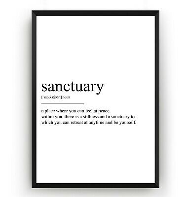 Sanctuary Definition Print - Home Poster Wall Art Decor Room Gift - Unframed