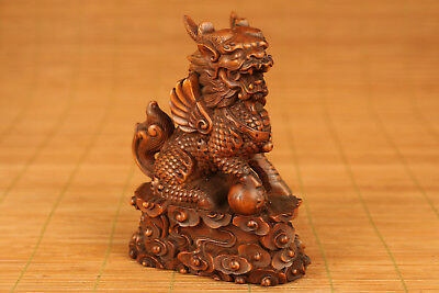 chinese Boxwood Hand Carved Kylin Lion Statue Big netsuke