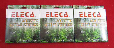 New Lot Of 3 Acoustic Guitar Strings Light Gauge  (A407)