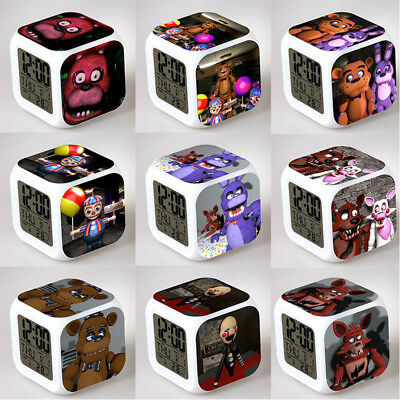 FNAF Five Nights At Freddy's 7 Colour Alarm Clock LCD LED Digital Desk Time Date