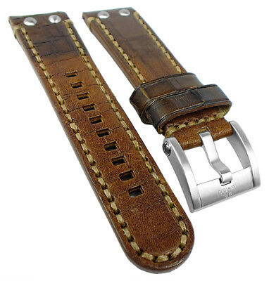 Tw Steel Wrist Watch Band 24mm - Leather,Brown with Stitching,Wide Pin Buckle