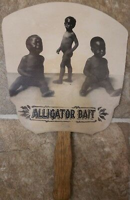 Vintage Hand Fan Black Americana St.petersburg Alligator Farm  Alligator Bait