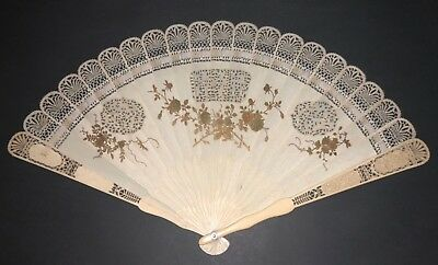 Superb Rare Antique Chinese Gold Gilt Shibayama Style Brise Fan Figural Scenes